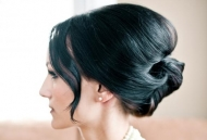 bridal hair-do updo modern bun wedding night out