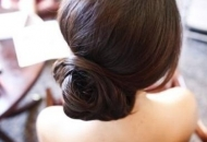 simple low bun chic hairstyle updo