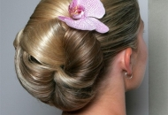 slick up-do hairstyle bun modern hairstyle wedding