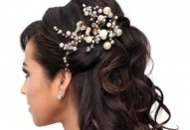 Half hair up and down bridal hairstyle