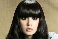 Modern hair cut & styling for long layered hair with bangs