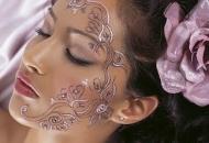 Coloured glitter body art henna-mehndi pattern design