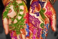 Coloured Henna-Mehndi design temporary body art