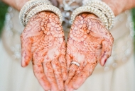 Traditional Henna-Mehndi on modern Asian Bridal gown